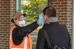 Among the many safety and health initiatives at Norfolk Naval Shipyard to protect employee safety and health during the COVID-19 pandemic, random health measures such as temperature screening have been implemented.