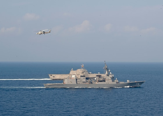 U.S Navy, Japan Maritime Self-Defense Force Operate Together in Andaman Sea