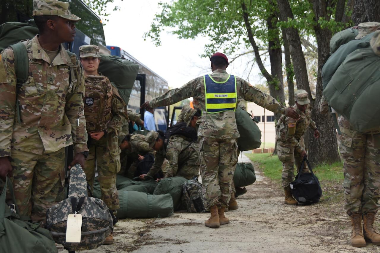 Soldiers practice social distancing.