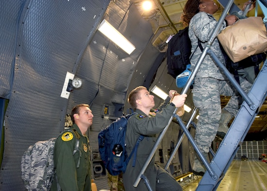 Medical technicians in the 433rd Airlift Wing mobilize and depart Joint Base San Antonio-Lackland, Texas, to respond to the COVID-19 crisis April 5, 2020.