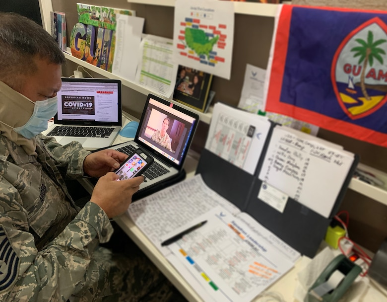 A photo of U.S. Air Force Senior Master Sgt. Ray Arceo, the 44th Aerial Port Squadron ramp services superintendent, conducting virtual training with unit members during the 624th Regional Support Group virtual unit training assembly April 4, 2020, from his home in Guam. Air Force Reserve Airmen in Hawaii and Guam continued mission readiness training during the first-ever 624th RSG virtual UTA, which was implemented to help keep Airmen safe during COVID-19 pandemic. (Courtesy Photo)