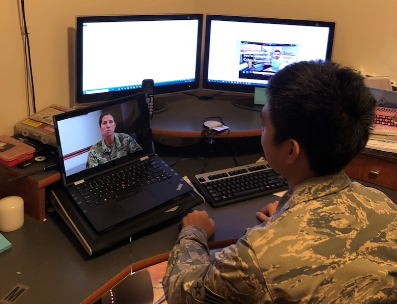 A photo of U.S. Air Force Senior Airman Jared Arellano, from the 44th Aerial Port Squadron, participating during a slide presentation as part of the 624th Regional Support Group virtual unit training assembly April 4, 2020, from his home in Guam. Air Force Reserve Airmen in Hawaii and Guam continued mission readiness training during the first-ever 624th RSG virtual UTA, which was implemented to help keep Airmen safe during COVID-19 pandemic. (Courtesy Photo)