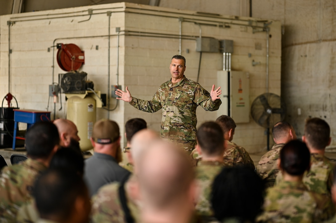 U.S. Air Force Lt. Gen. Joseph T. Guastella, Jr., Commander, U.S. Air Forces Central Command and Combined Forces Air Component Commander, speaks with 451st Air Expeditionary Group Airmen at Kandahar Airfield about the importance of the USAFCENT mission in Afghanistan, Feb. 24, 2020.