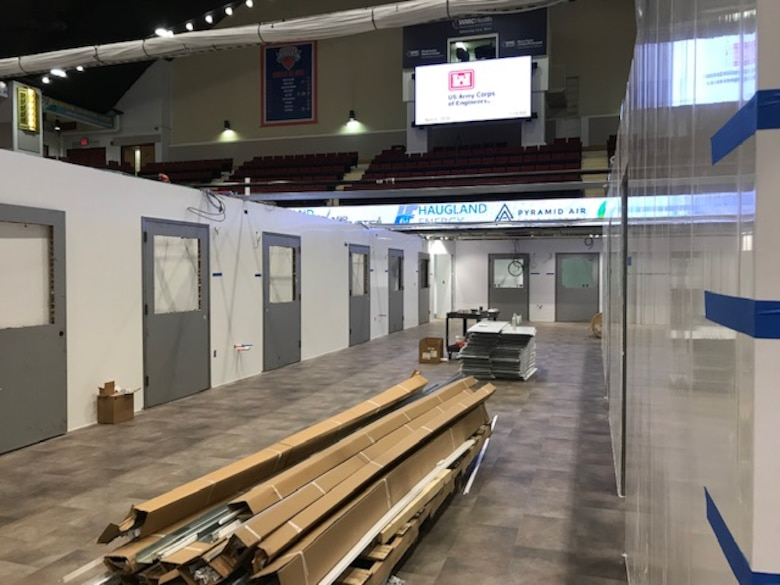 Work continues to convert the Westchester County Center into an alternate care facility that will be home to 100 acute-COVID19 patients. Work is expected to be complete on April 19.