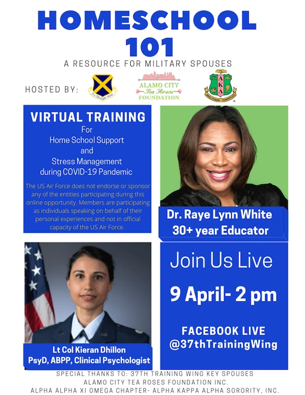 37 TRW is excited to share an opportunity for our families, a Live Facebook event hosted by the 37 TRW this Thursday, April 9, at 2 p.m.  There will be three guest speakers, Dr White, Lt Col Dhillon, and Mrs. Leslie Janaros.