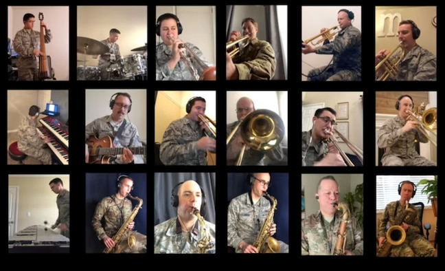 """A screenshot of a video performance of """"The Last Dinosaur,"""" by the Commanders Jazz Ensemble was uploaded to the Band of the Golden West's."""