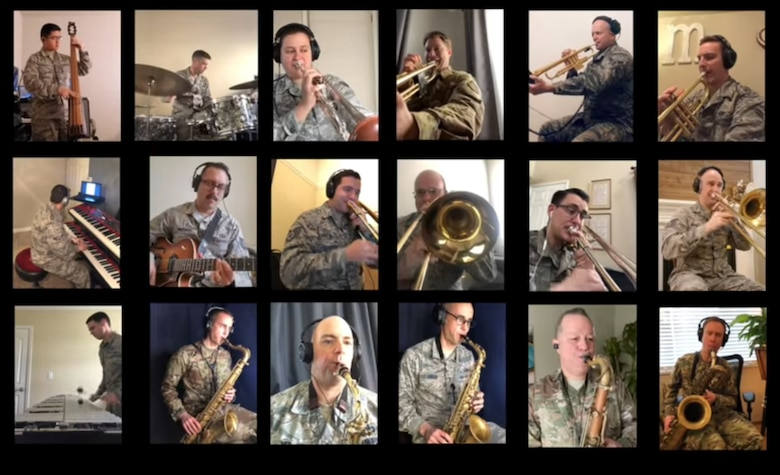 "A screenshot of a video performance of ""The Last Dinosaur,"" by the Commanders Jazz Ensemble was uploaded to the Band of the Golden West's."