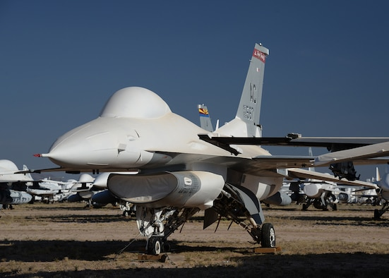 An F-16 in storage at the 309th Aerospace Maintenance and Regeneration Group, Davis-Monthan Air Force Base, Arizona.