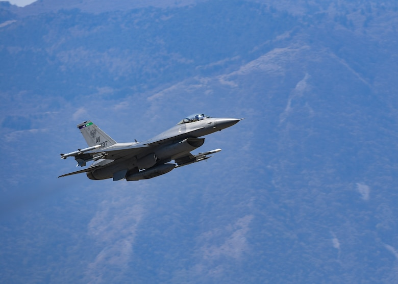 A U.S. Air Force F-16 Fighting Falcon from the 510th Fighter Squadron takes flight at Aviano Air Base, Italy, Apr. 6, 2020. An all-weather capability allows the F-16 to accurately deliver ordnance during non-visual bombing conditions. (U.S. Air Force photo by Airman Thomas S. Keisler IV)