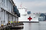 New York, NY, March 30, 2020 – The USNS Comfort arrived in New York to support the national, state and local response to the coronavirus (COVID-19). The hospital ship will provide approximately 1,000 beds for urgent care patients not infected with the virus, relieving pressure on local hospital systems. K.C. Wilsey/FEMA