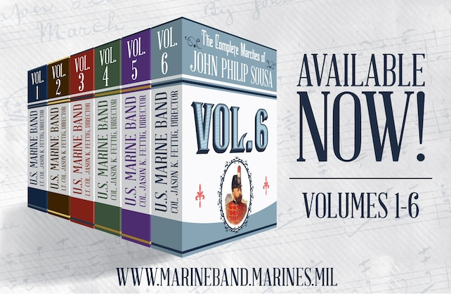 On April 6, 2020, the United States Marine Band released Volume 6 of The Complete Marches of John Philip Sousa. This multi-year recording project offers a wealth of free, in-depth educational resources including full scores, individual parts, historical notes, recordings, performance practices, and scrolling score videos.  PLEASE NOTE: Only six marches from Volume 6 are in the public domain and included for download.