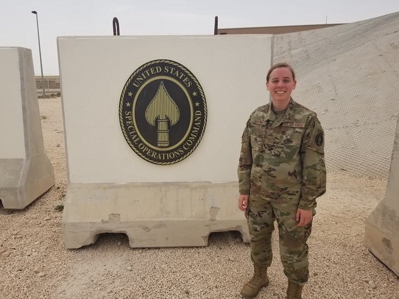U.S. Air Force Airman 1st Class Ashley Mason, 17th Communications Squadron client systems technician poses for a photo while in a deployed location. (Courtesy Photo)