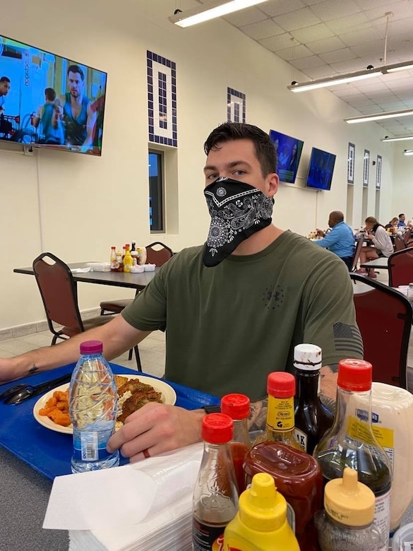 U.S. Air Force Senior Airman Joshua Krischke, 17th Communications Squadron cyber systems technician, practices COVID-19 safety measures while deployed. (Courtesy Photo)