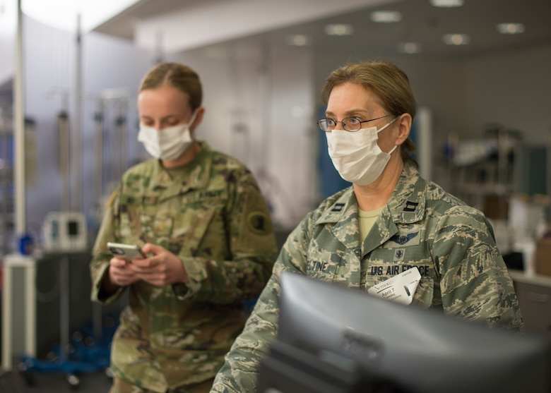 U.S. Air Force Capt. Yvonne Azeltine, 166th Medical Group nurse, participates in a training exercise at an alternate care site at A.I. DuPont Hospital, Wilmington, Del., April 7, 2020. Under command of the Governor of the State of Delaware, the 166th Airlift Wing provides trained personnel and equipment for various humanitarian missions to protect life and property and preserve peace, order and public safety, under competent orders of state authorities. (U.S. Air National Guard Photo by Staff Sgt. Katherine Miller)