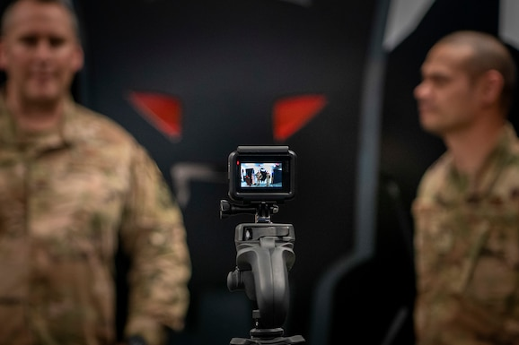 Photo of Colonel Wade talking to GoPro camera