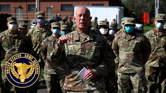 Lt. Gen. Charles D. Luckey, chief of Army Reserve and commanding general, U.S. Army Reserve Command, stands with the Urban Augmentation Medical Task Forces (UAMTFs) that are supporting our communities and nation in response to COVID-19.