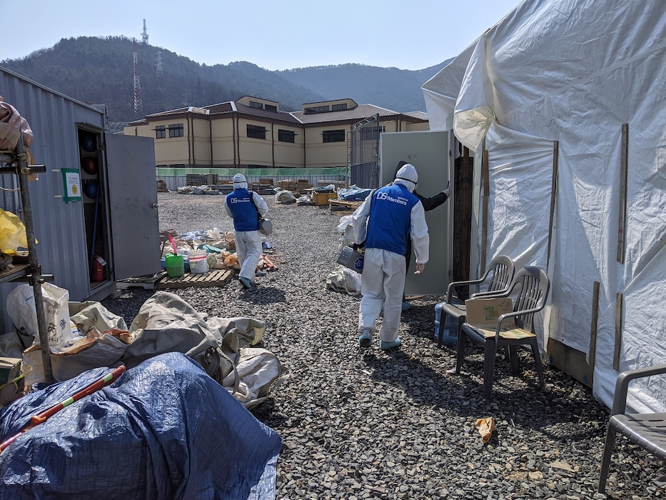 The U.S. Army Corps of Engineers, Far East District Southern Resident Office facilitated a certified decontamination team to clean a project site at Camp Walker, South Korea after a contractor employee tested positive for COVID 19, Mar. 2020.