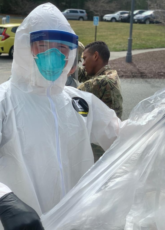 A group of aerospace medical technicians and a medical administrator from the 104th Medical Group, Massachusetts National Guard, spent a week moving throughout Massachusetts administering tests for COVID-19, sometimes at four locations per day.