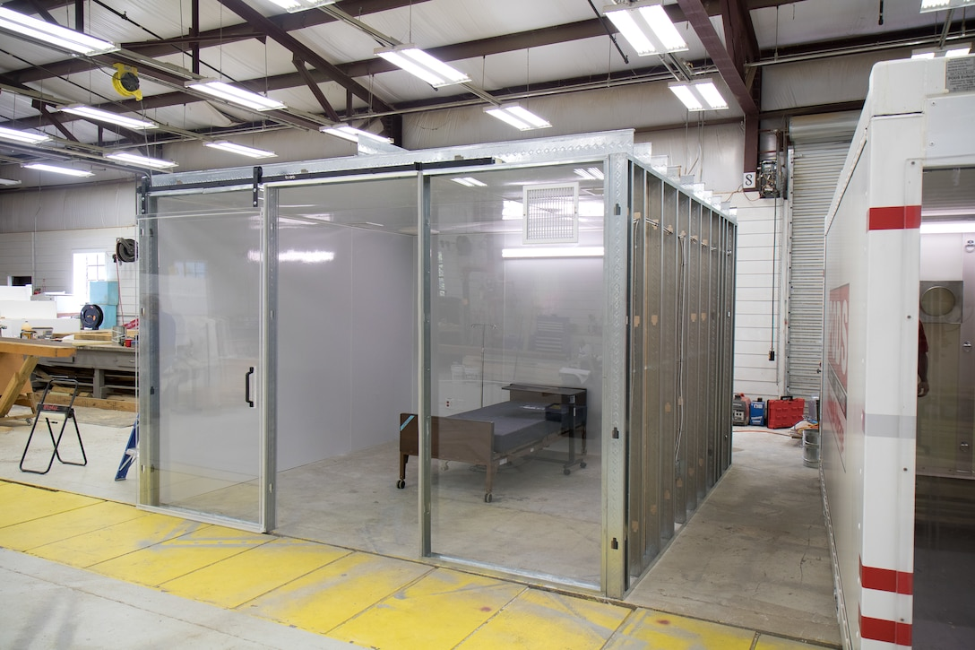 A prototype of a containerized hospital room.