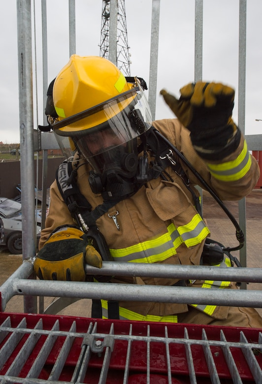 Firefighters with the 423rd Civil Engineer Squadron train on a confined spaces trainer at RAF Alconbury, England on March 30, 2020. This type of training helps the firefighters maintain readiness and stay proficient in their craft. (U.S. Air Force photo by Master Sgt. Brian Kimball)