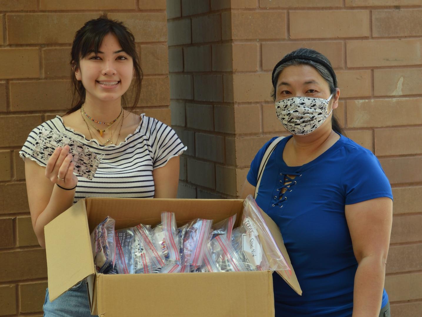 Family donates masks.