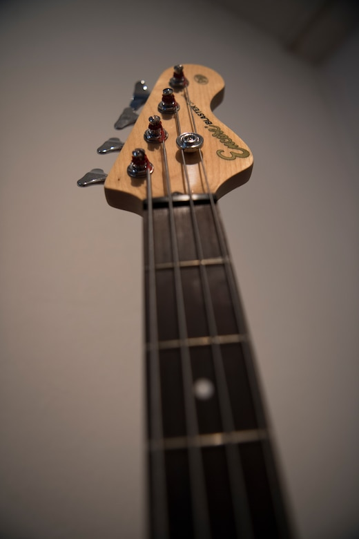 A bass guitar sits in Kaiserslautern, Germany, April 8, 2020.
