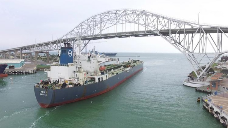 A vessel passes through the Corpus Christi Ship Channel. Photo Courtesy of Port of Corpus Christi.