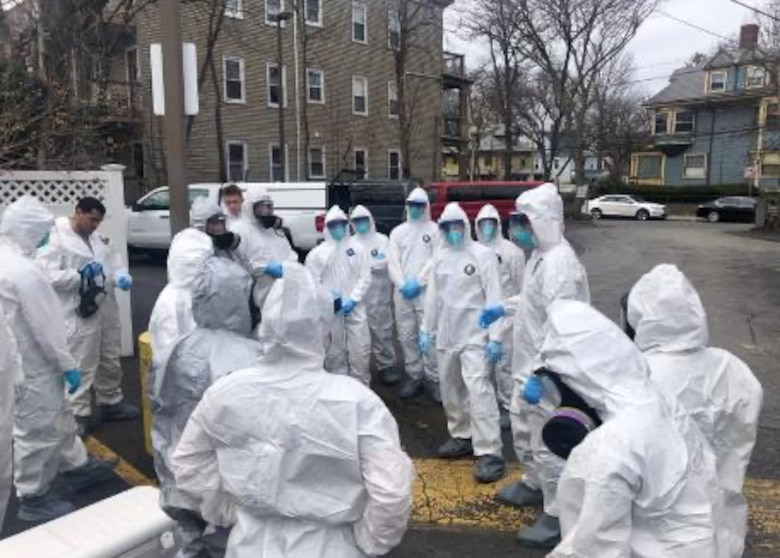 A group of aerospace medical technicians and a medical administrator from the 104th Medical Group spent the last week moving throughout Massachusetts administering tests for COVID-19, sometimes at four locations per day. (Courtesy Photo)