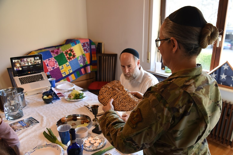 U.S. Air Force Maj. Sarah Schechter, 86th Airlift Wing staff chaplain, and her family lead a virtual Passover Seder from their home in Kaiserslautern, Germany, April 8, 2020.