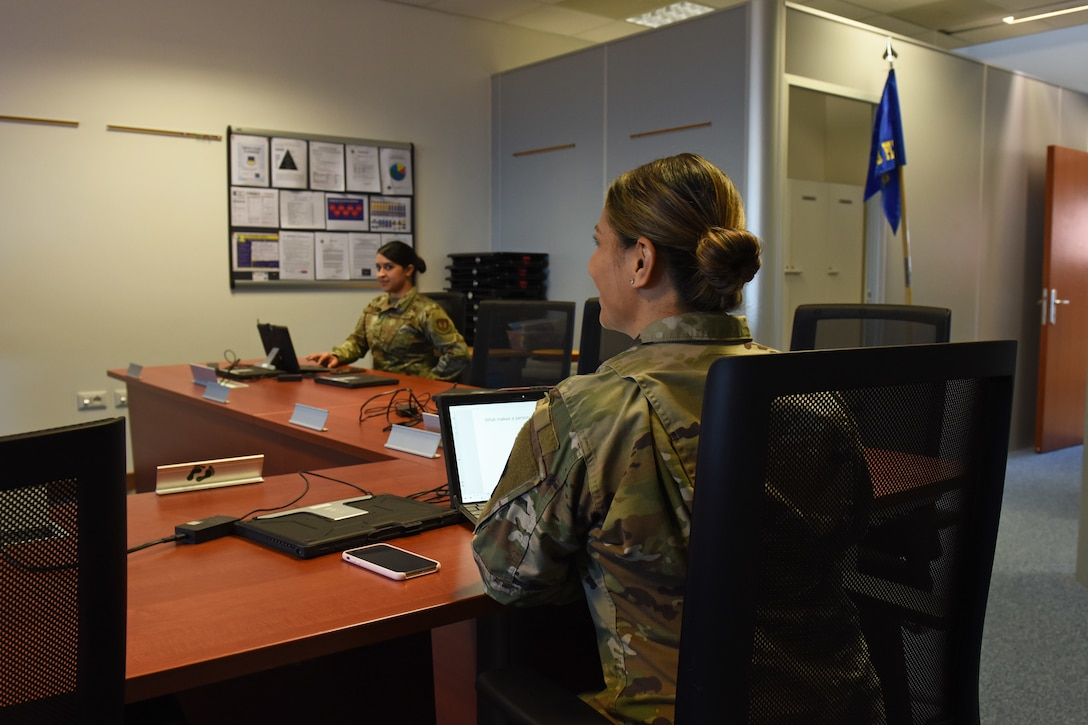 Tech. Sgt. Adam K. Ginett Airman Leadership School staff run through practice lessons in preparation for a virtual ALS course at Aviano Air Base, Italy, April 9, 2020. The ALS staff has turned to virtual options in response to COVID-19 and will be the first virtual ALS course throughout the Air Force. (U.S. Air Force photo by Staff Sgt. Valerie Halbert)
