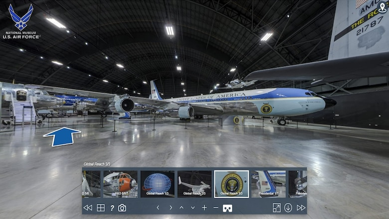 Image of virtual tour of the Presidential Gallery featuring Air Force One.