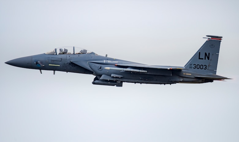 An F-15E Strike Eagle launches for a training sortie