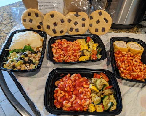 Families from the 926th Wing received catered meals from the USO, in Las Vegas, Nevada, April 7 and 9, 2020. Fifty-nine meals were delivered directly to the address provided by the family members during initial outreach from the USO