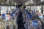 Army personnel depart from Joint Base McGuire-Dix-Lakehurst, N.J., and head to New York City, April 8, 2020. The deployment is part of a larger mobilization package of doctors, nurses and respiratory therapists from Air Force Reserve units across the nation in support of the COVID-19 response. U.S. Northern Command, through U.S. Army North, is providing military support to the Federal Emergency Management Agency to help communities in need.