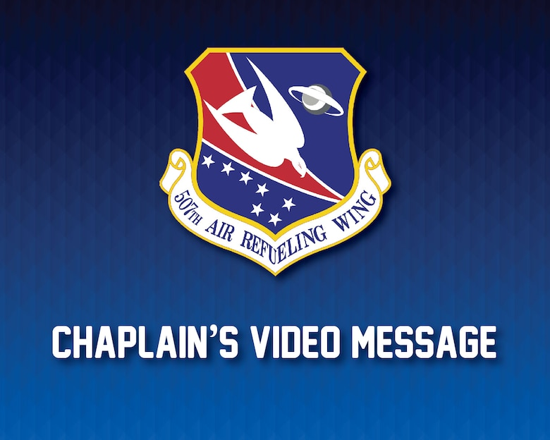 Ch. (Maj.) Ed Sanders, 507th Air Refueling Wing chaplain, offers a message of resiliency to the Wing's Airmen April 9, 2020, at Tinker Air Force Base, Oklahoma. (U.S. Air Force graphic by Senior Airman Mary Begy)