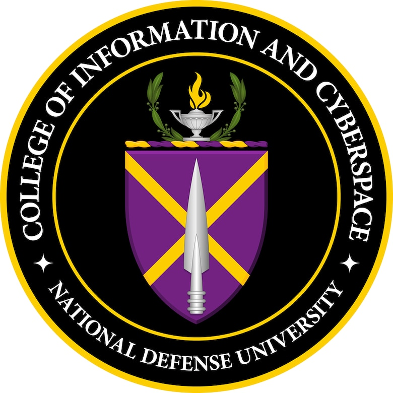 """A circular logo shows a spearhead over the top of a purple shield. Atop the shield is an oil lamp and a wreath. Words around the shield say """"College of Information and Cyberspace -- National Defense University."""""""