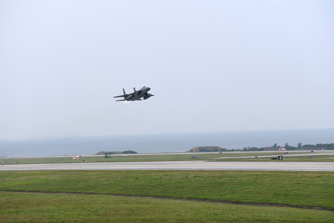 An F-15C Eagle takes off from Kadena Air Base, Japan, Apr. 9, 2020. The F-15C Eagle is a maneuverable, tactical fighter designed to gain and maintain air supremacy over the battlefield. In order to ensure mission success, the Airmen of Team Kadena continuously rise to meet mission requirements and ensure air superiority. (U.S. Air Force photo by Airman 1st Class Rebeckah Medeiros)
