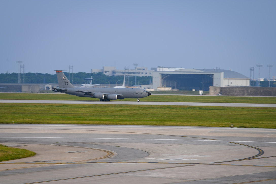 A U.S. Air Force KC-135 Stratotanker, assigned to the 909th Air Refueling Squadron, takes off April 9, 2020, at Kadena Air Base, Japan. Team Kadena is postured to protect its forces against COVID-19 while also maintaining mission readiness in support of the U.S.-Japan Alliance. The 909th ARS conducts aerial refueling missions throughout the region ensuring a free and open Indo-Pacific. (U.S. Air Force photo by Staff Sgt. Kristan Campbell)