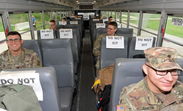 Soldiers on bus.