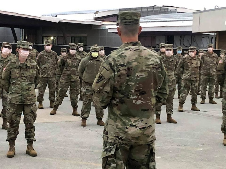 Maj. Gen. Joe Robinson, Commanding General, 3d Medical Command (Deployment Support) addresses Soldiers from the 5th Med. Bde. prior to their mobilization.