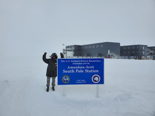 Maj. Esther Lee, a chaplain assigned to the 158th Fighter Wing, Vermont Air National Guard, poses for a photo as she supports the Amundsen-Scott station, Antarctica, Feb. 6, 2020. The National Science Foundation runs the station, located at the Geographic South Pole, and relies on the 109th Airlift Wing, New York Air National Guard, as the sole supplier of airlift within Operation Deep Freeze, a six-month deployment to the arctic.