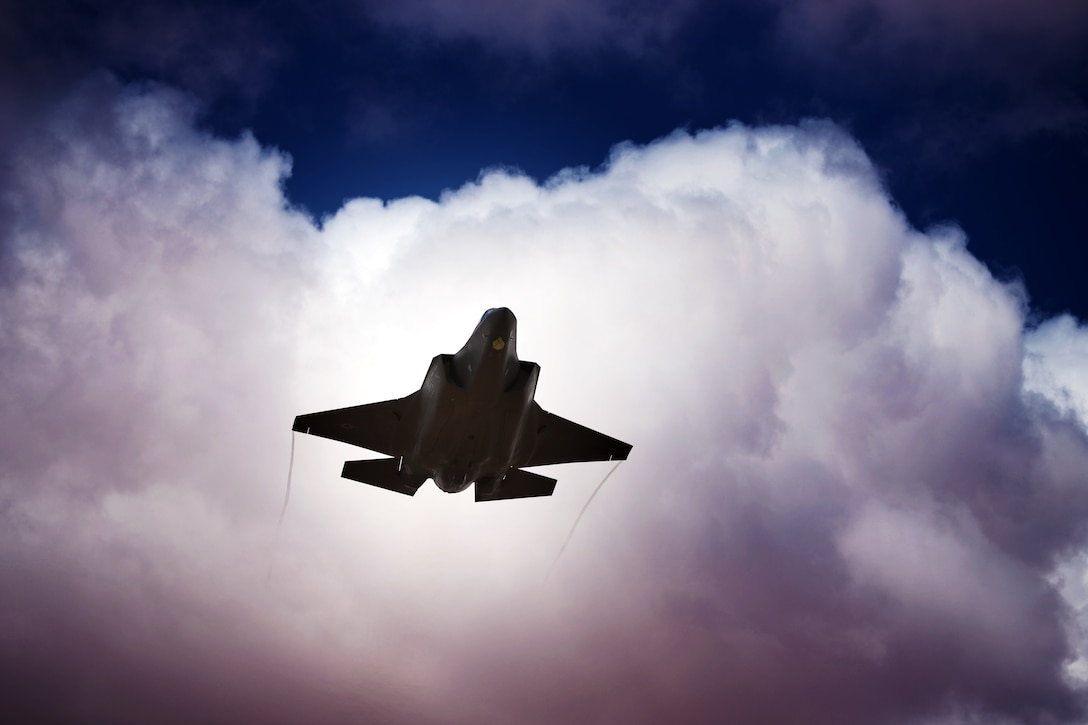 A U.S. Air Force F-35A Lightning II fighter jet flies near At-Tanf Garrison, Syria, April 10, 2020. Coalition and partner forces continue to strike at extremist organizations in Syria despite COVID-19, reflecting the world-wide unity to see an enduring defeat delivered against Daesh. (U.S. Army photo by Staff Sgt. William Howard)