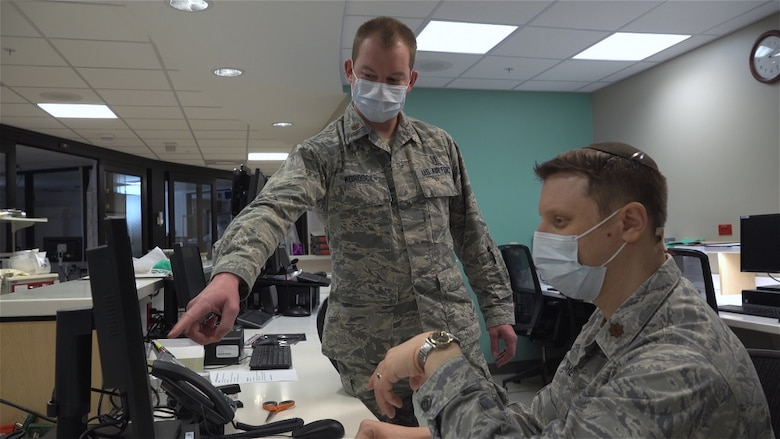 Air Force doctors Maj. Evan Fisher, Chief of Nephrology, and Maj. Matthew Koroscil, a Pulmonary and Critical Care Specialist at the Wright-Patterson Medical Center, are leading the way in coordination with the Dayton, Ohio medical community on a new drug protocol for COVID-19 patients, April 13, 2020. Their work on the project allowed Premier Health's Miami Valley Hospital to potentially lead the country in administration of the Mayo Clinic approved plasma protocol. (U.S. Air Force photo by Matthew Clouse)
