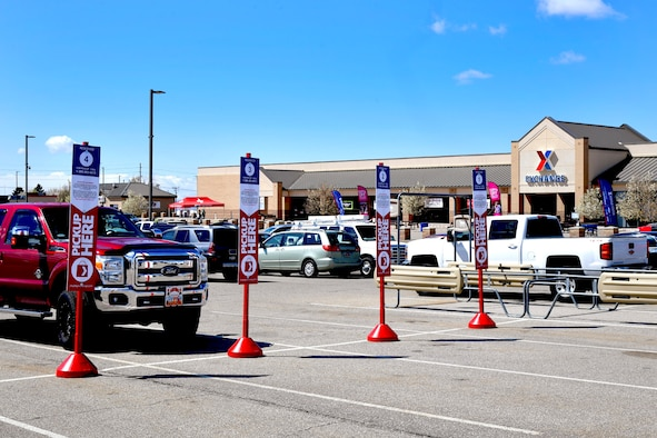 The designated parking stalls for used for curbside pick up at the Hill Air Force Base AAFES Main Exchange.