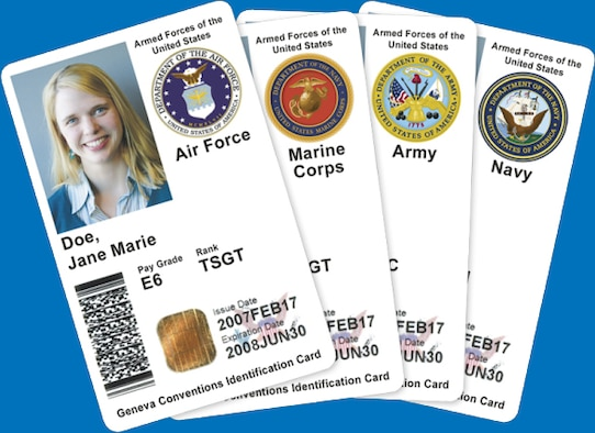 4 common access cards arranged upon a blue background showing the 4 service branches at the top right of each card.