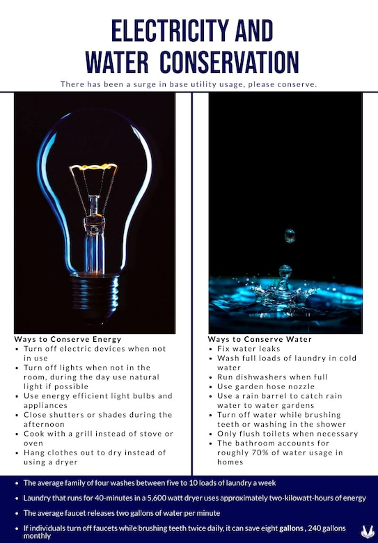 There has been a surge in base utility usage, use these tips to conserve electricity and water.