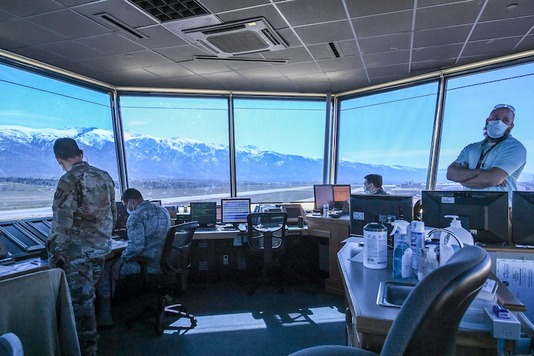 Air traffic controllers working in the tower at Hill Air Force Base.