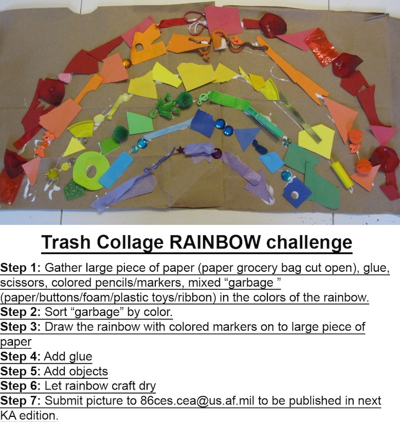 The 86th Civil Engineer Squadron Installation Management Flight offers a fun way for kids to create a rainbow from used scraps from around the house.