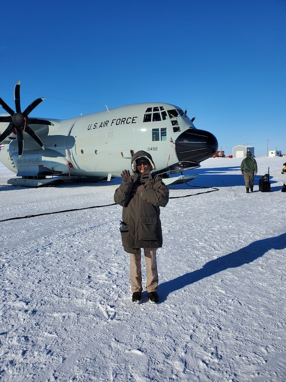 A LC-130 Hercules assigned to the 109th Airlift Wing, New York Air National Guard, sits on an airfield made of snow near the McMurdo Station