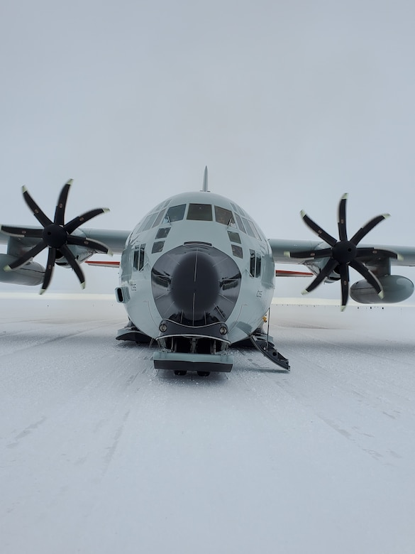 A LC-130 Hercules assigned to the 109th Airlift Wing, New York Air National Guard, sits on an airfield made of snow near the McMurdo Station, Antarctica